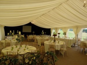 Inside Wedding Marquee furniture