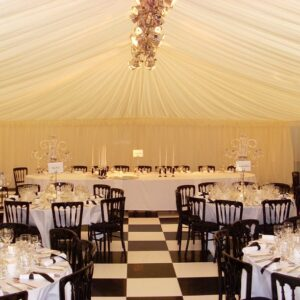 black and white floor in marquee