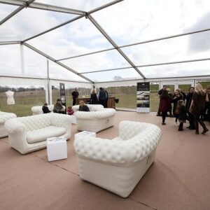 sofa and furniture inside marquee hire