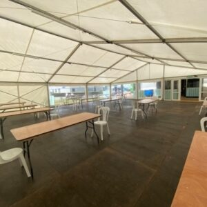 Social Distancing Marquee with tables and chairs2