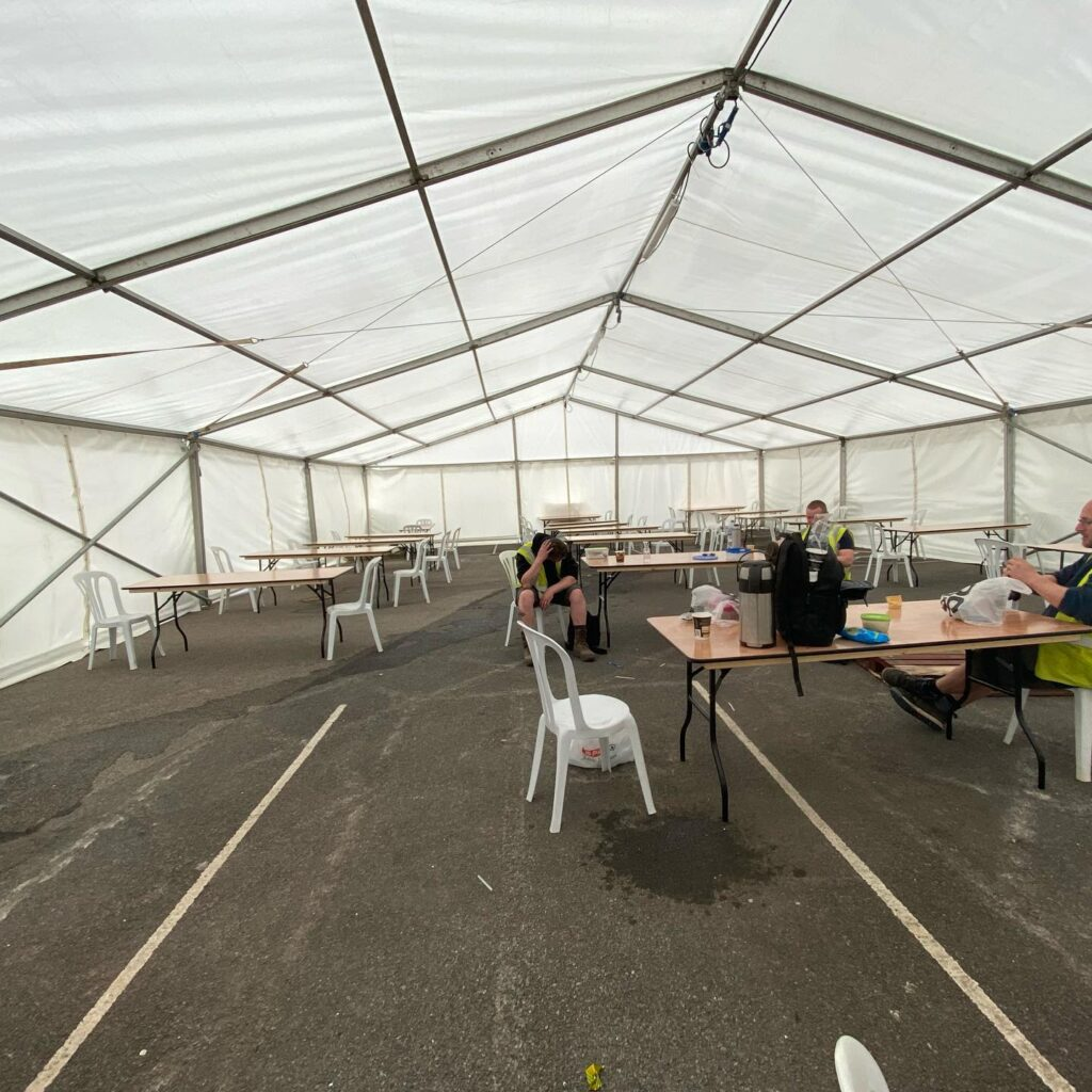 Social Distancing Marquees for Hire with furniture
