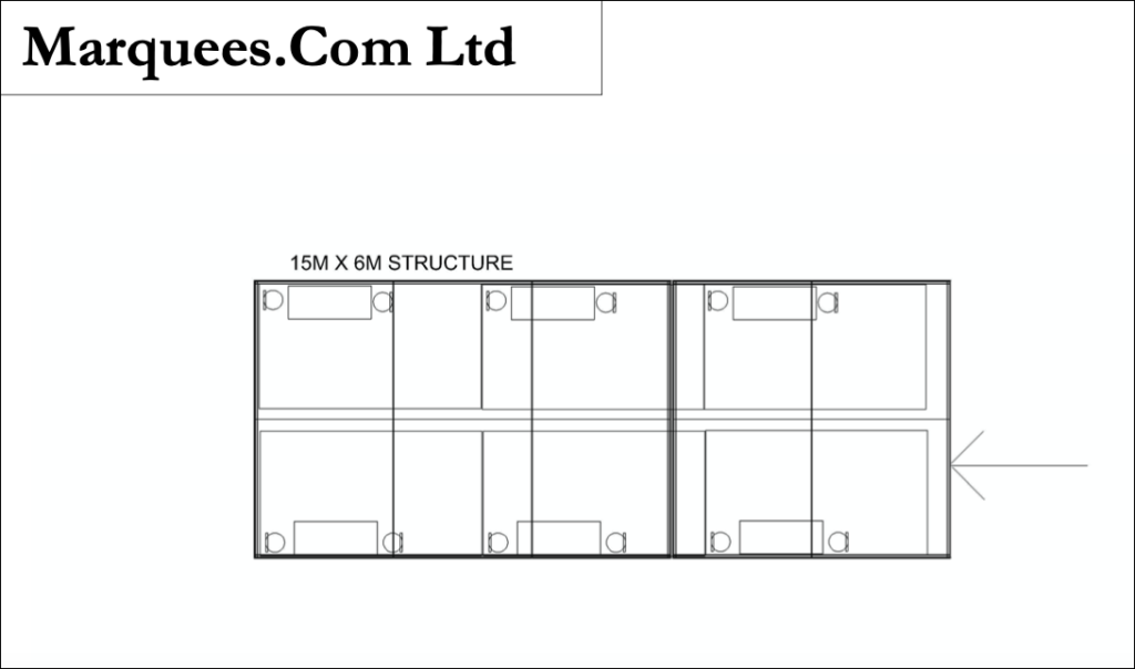 Large social distancing marquee floor plan