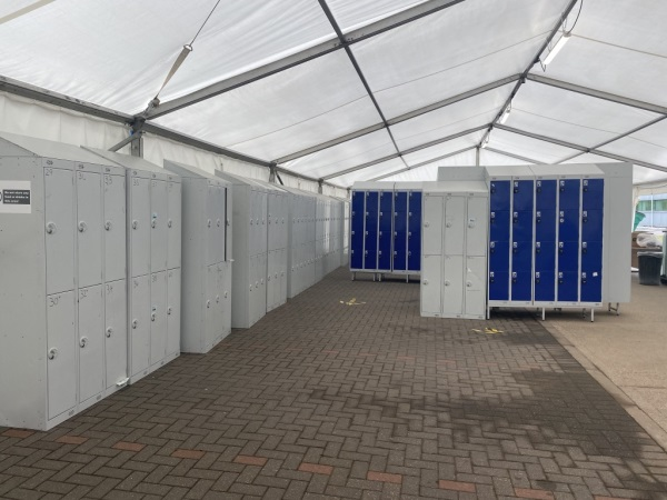 social distancing marquee with lockers