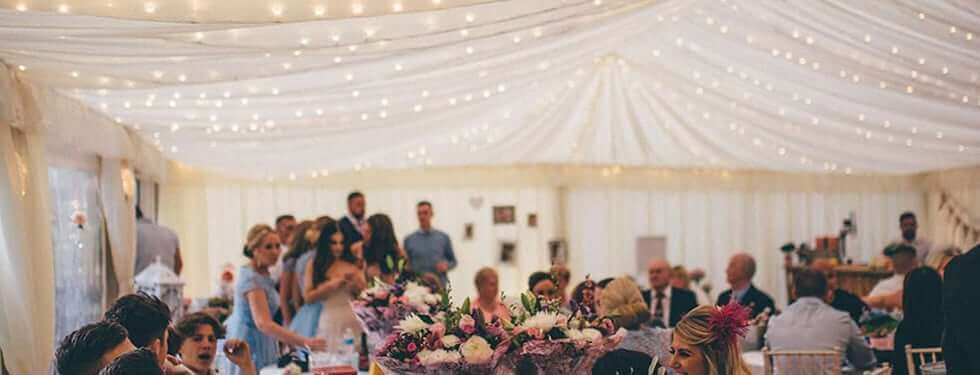 wedding marquee with Pea lights